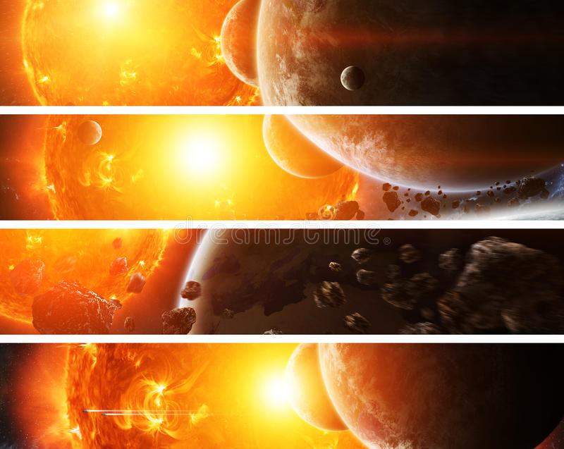 Exploding sun in space close to planet. Sun exploding close to inhabited planets system vector illustration