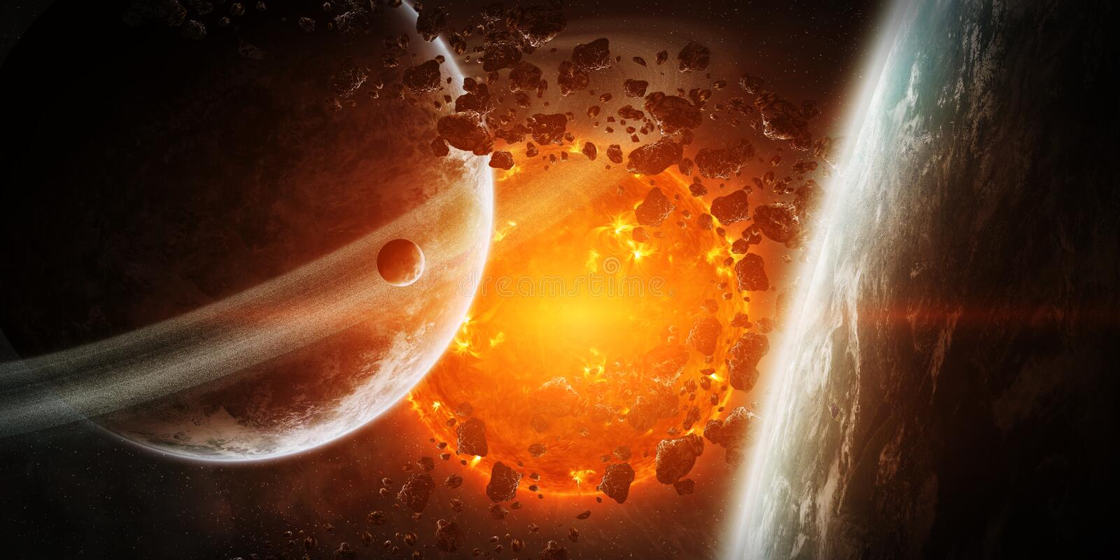 Exploding sun in space close to planet stock illustration