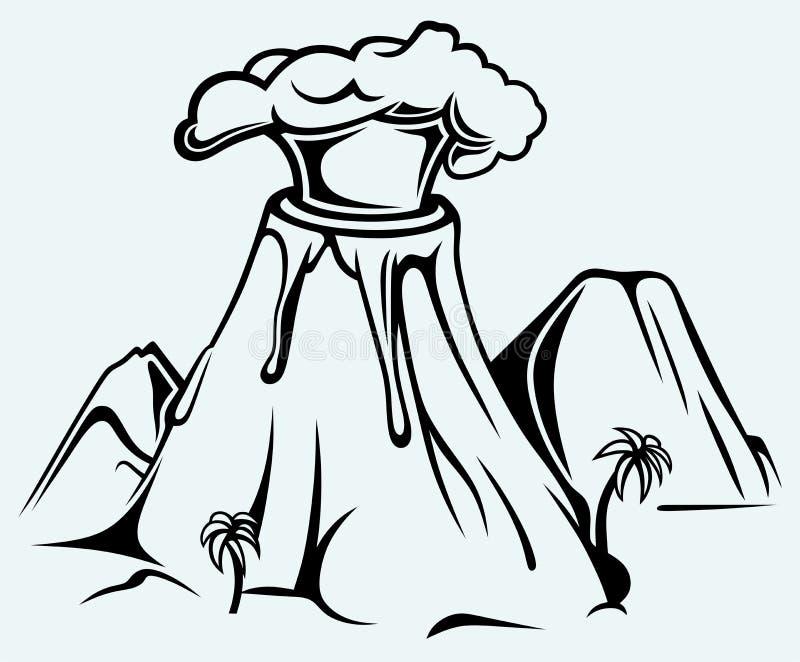 Exploding volcano. Image isolated on blue background stock illustration