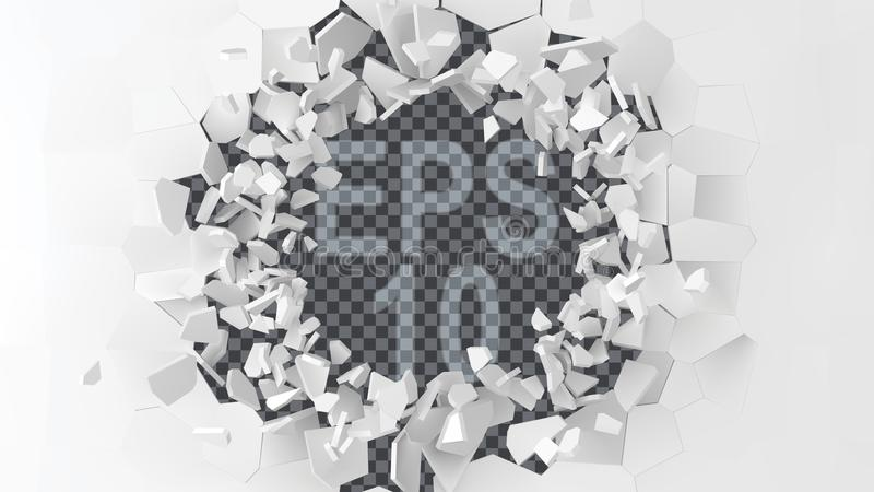 Exploding wall with free area on center for any object or background. 3d style vector illustration. Suitable for any logo, object or background revealing royalty free illustration