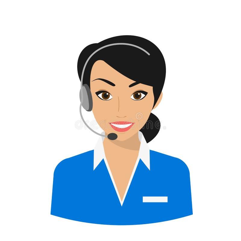 Exploitant de centre serveur féminin d'appel illustration stock