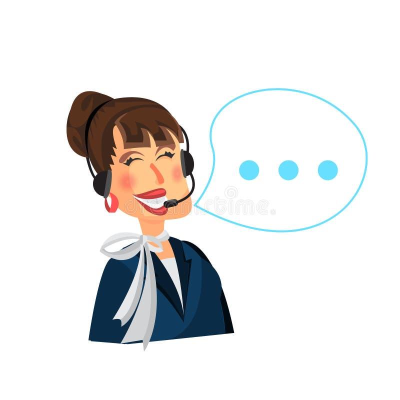 Exploitant de centre serveur féminin d'appel avec le casque Style plat de moderm illustration stock