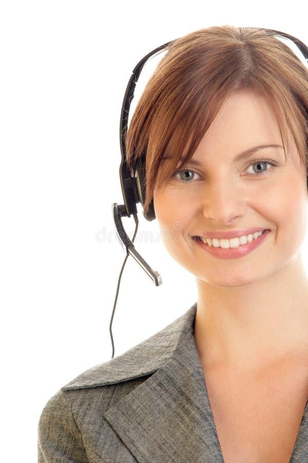 Exploitant die hoofdtelefoon draagt stock afbeeldingen