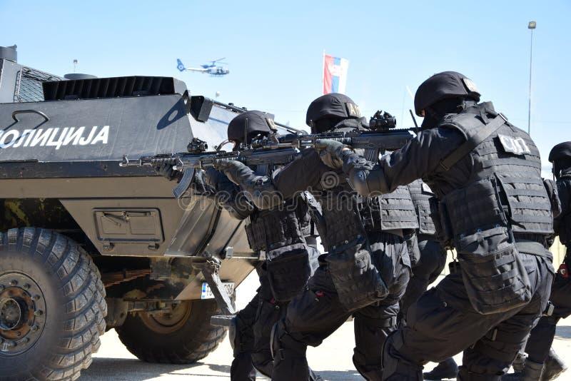 Exploitanten van de Speciale Politie-eenheid van de Republiek van Srpska stock afbeelding