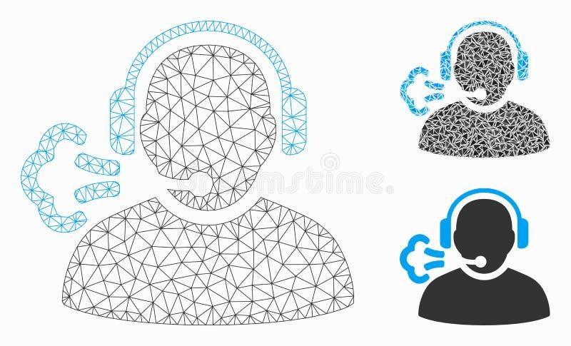 Exploitanttoespraak Vector het Mozaïekpictogram van Mesh Carcass Model en van de Driehoek vector illustratie