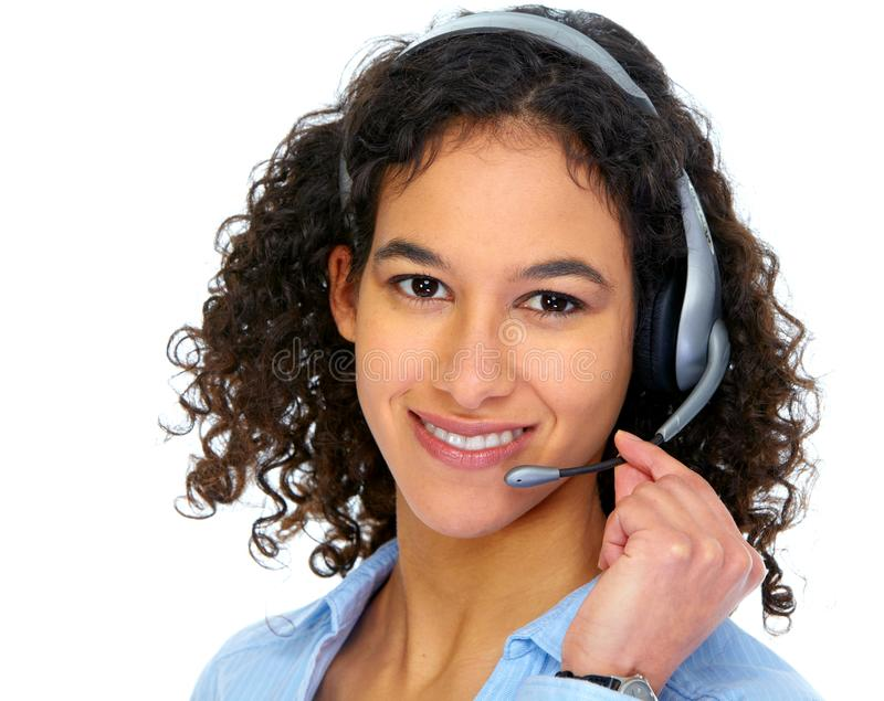 Exploitantvrouw in hoofdtelefoons royalty-vrije stock foto