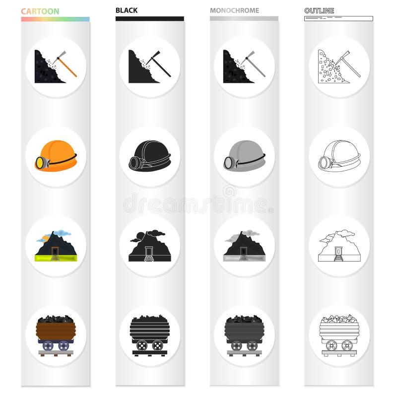 Exploitation, équipement, outils et toute autre icône de Web dans le style de bande dessinée Fossile, écologie, industrie, icônes illustration de vecteur