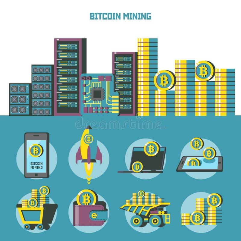 Exploitation de Bitcoin Cryptocurrency Ordinateurs qui ont extrait des bitcoins Portefeuille avec le bitcoin Pile de pièces de mo illustration de vecteur