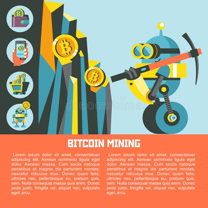Exploitation de Bitcoin Illustration conceptuelle de vecteur Cryptocurrency illustration stock