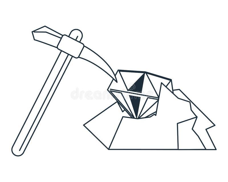 Exploitation et sélection de diamant illustration de vecteur