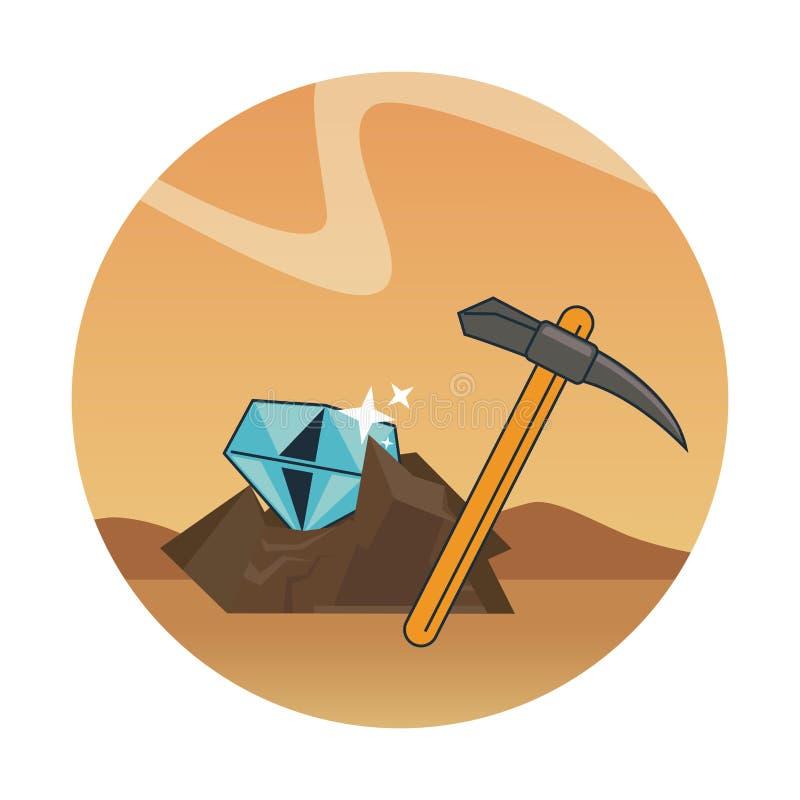 Exploitation et sélection de diamant illustration stock