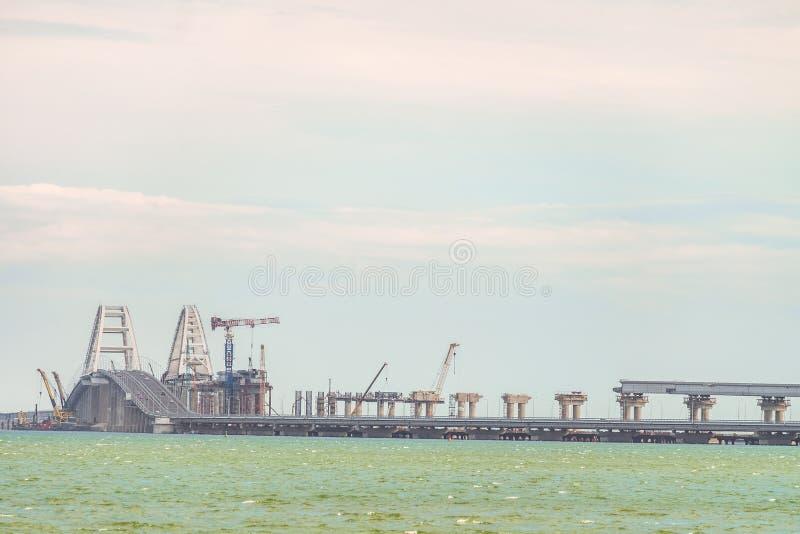 Exploited Crimean car bridge with car road. Railway bridge under construction. royalty free stock photos