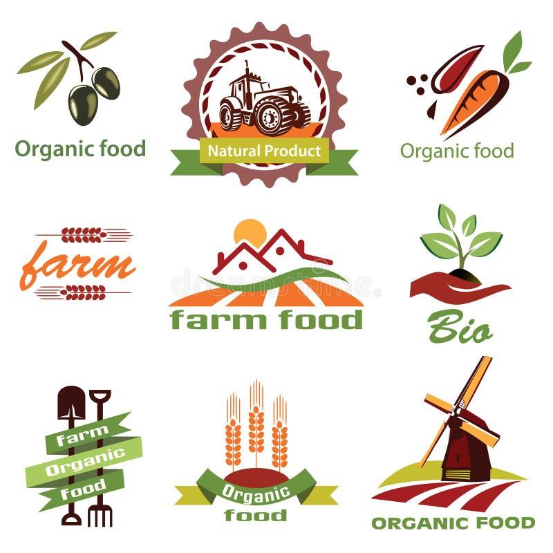A exploração agrícola, ícones da agricultura, etiqueta a coleção ilustração royalty free