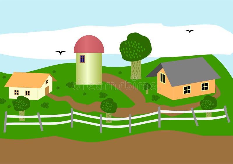 Download Exploração agrícola. ilustração do vetor. Ilustração de árvores - 26509113