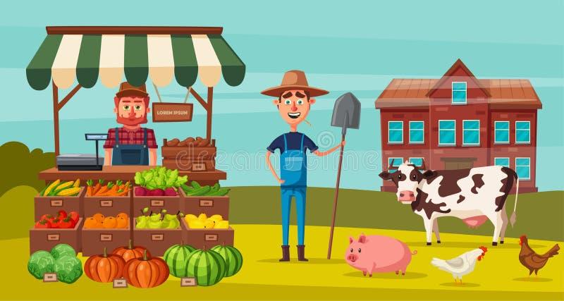 A exploração agrícola ajustou-se com fazendeiros, produtos e animais Ilustração do vetor dos desenhos animados ilustração royalty free