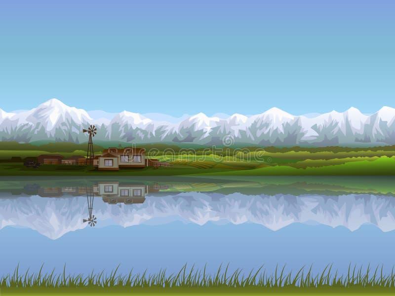 Exploração agrícola alpina ilustração do vetor