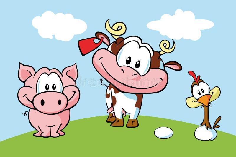 Exploração agrícola animal ilustração royalty free