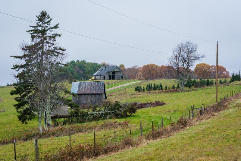Exploração agrícola ao longo de Ridge Parkway azul, nas montanhas apalaches de Virgínia imagem de stock