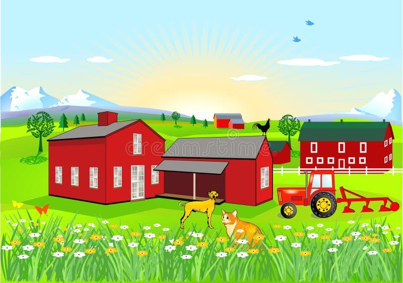 Exploração agrícola com cão e gato ilustração royalty free