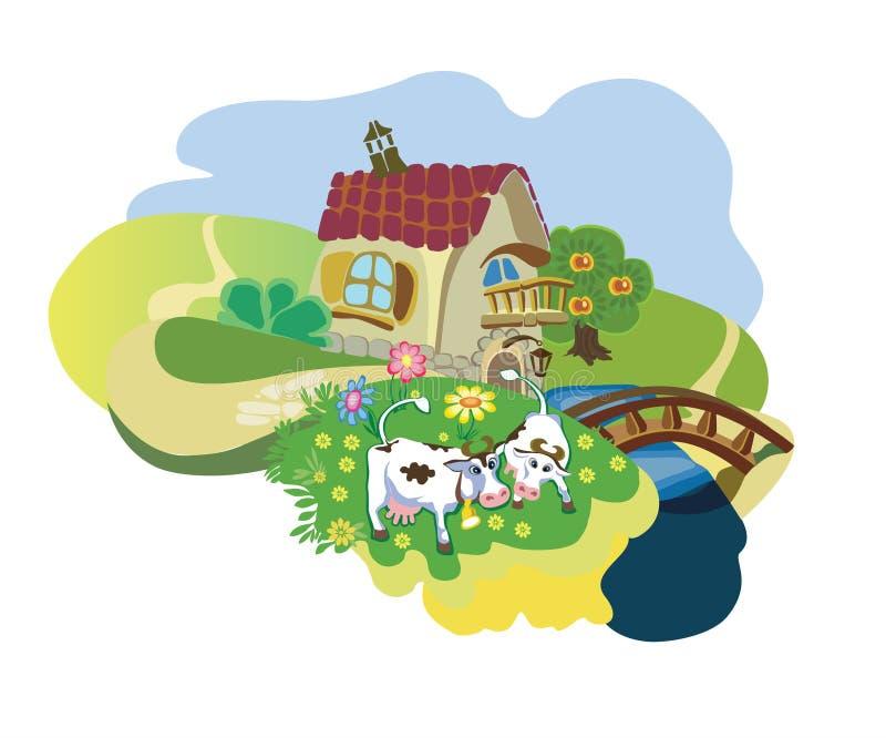 Exploração agrícola com vacas ilustração do vetor