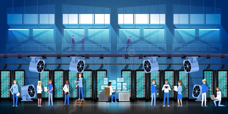 Exploração agrícola da mineração de Bitcoin na sala do centro de dados que hospeda a ilustração moderna do vetor do dinheiro da W ilustração do vetor