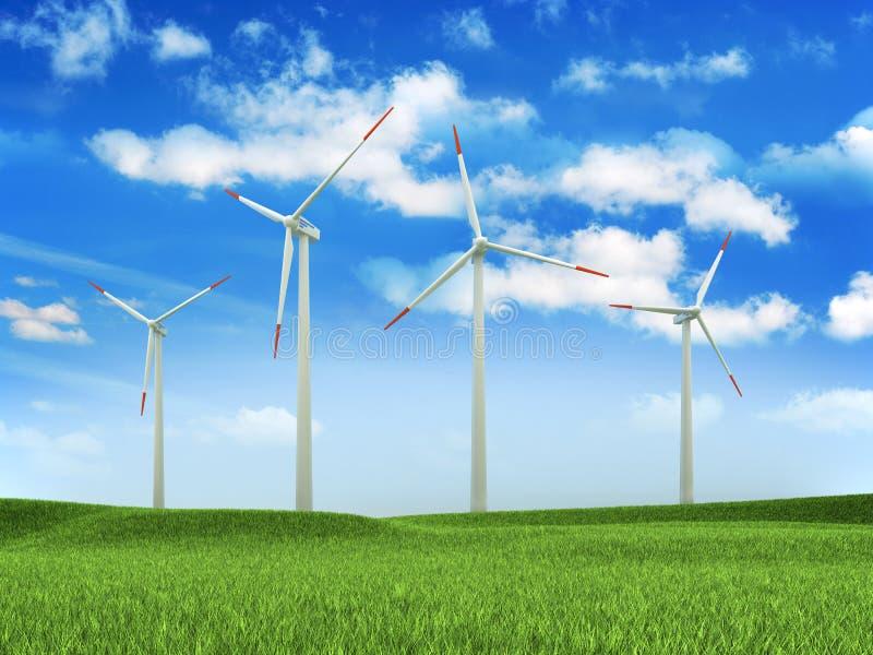 Exploração agrícola da turbina de vento ilustração do vetor