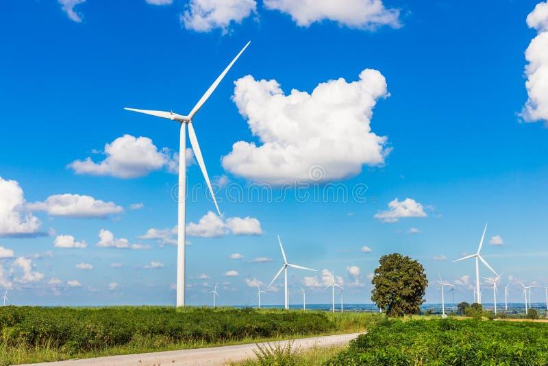 Exploração agrícola da turbina eólica na natureza bonita com o blackground do céu azul, gerando a eletricidade fotografia de stock royalty free