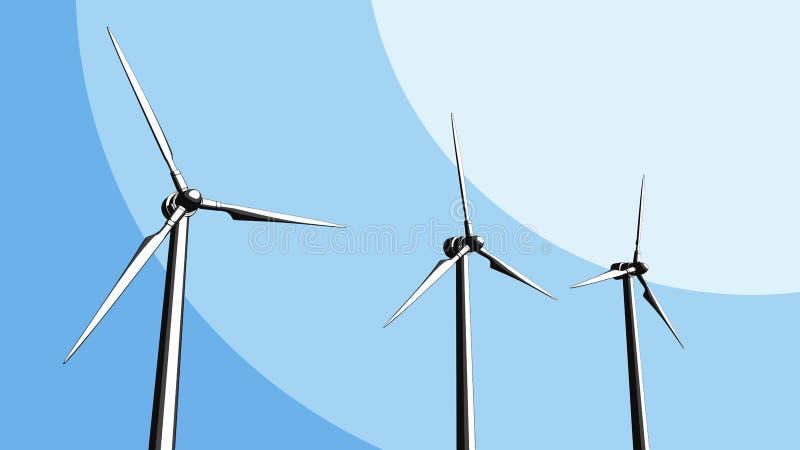 Exploração agrícola das turbinas de vento rendição 3d ilustração stock