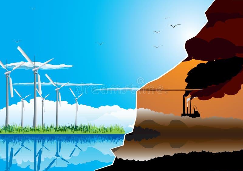 Exploração agrícola de energia verde ilustração stock