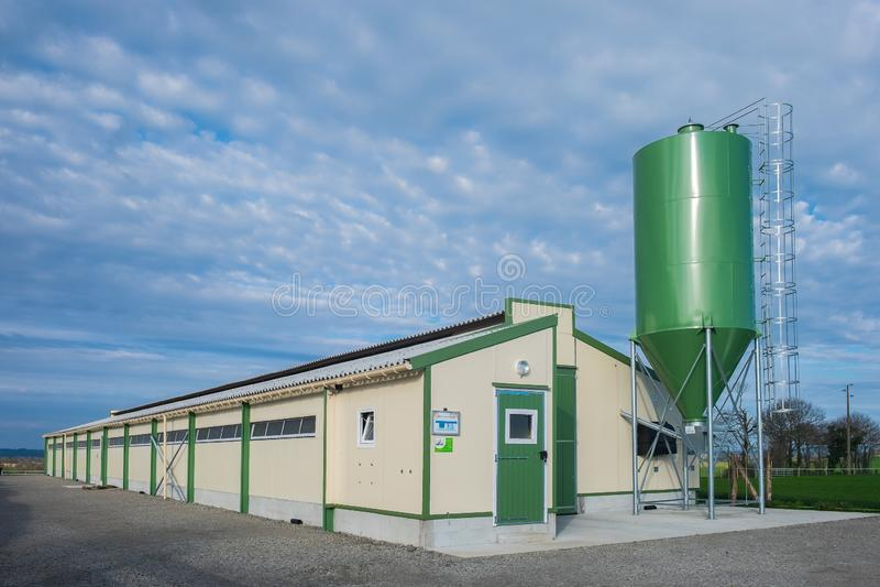 Exploração agrícola de galinha Building-2 de Mayenne imagens de stock