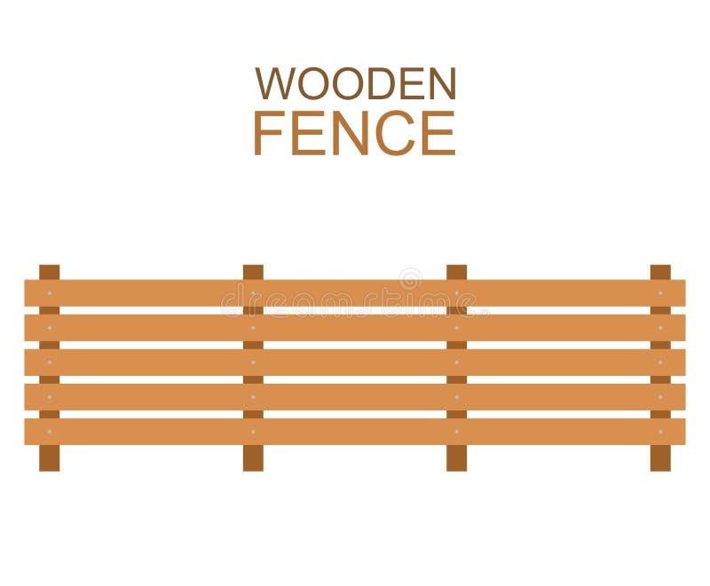 A exploração agrícola de madeira embarca a construção de madeira da silhueta da cerca no estilo liso ilustração stock