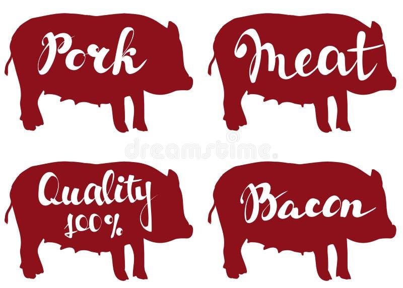 Exploração agrícola de porco, esboço da ilustração do vetor ajuste o molde do projeto do logotipo do vetor ilustração royalty free