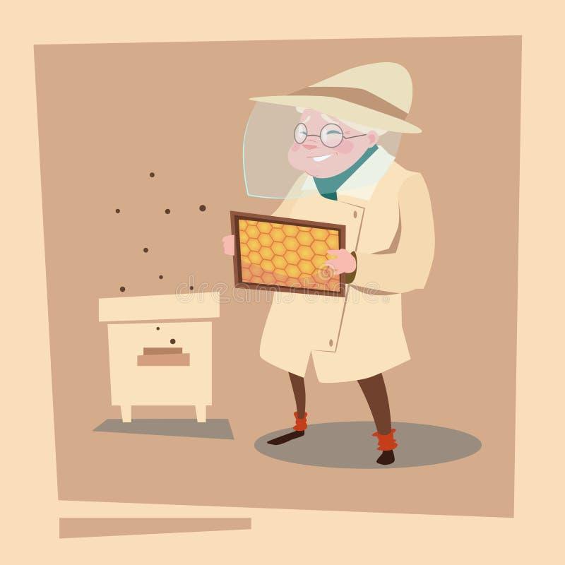 Exploração agrícola de Senior Woman Gather Honey From Bee Hive Apiary do fazendeiro ilustração do vetor