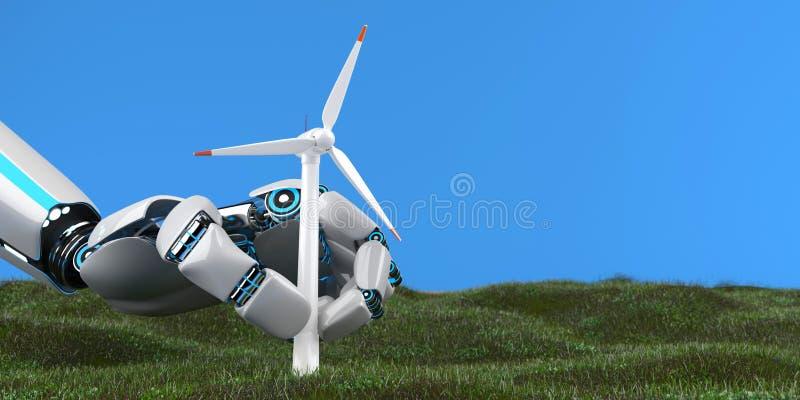 Exploração agrícola de vento da turbina eólica da mão do robô ilustração do vetor