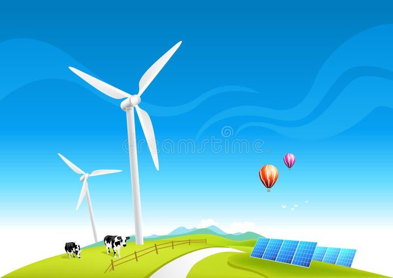 Exploração agrícola de vento e painéis solares ilustração royalty free