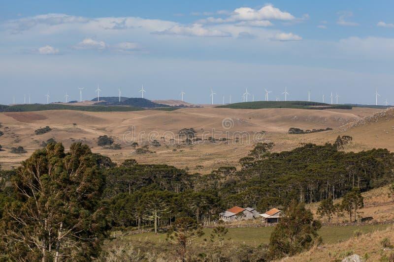 Exploração agrícola de vento em Bom Jardim a Dinamarca Serra - SC - Brasil imagem de stock