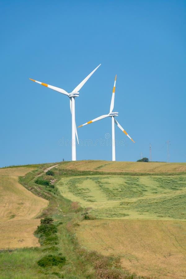 A exploração agrícola de vento moderna com turbinas eólicas grandes eleva-se, fonte para renova imagem de stock royalty free
