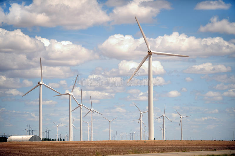 Exploração agrícola de vento no campo fotografia de stock royalty free