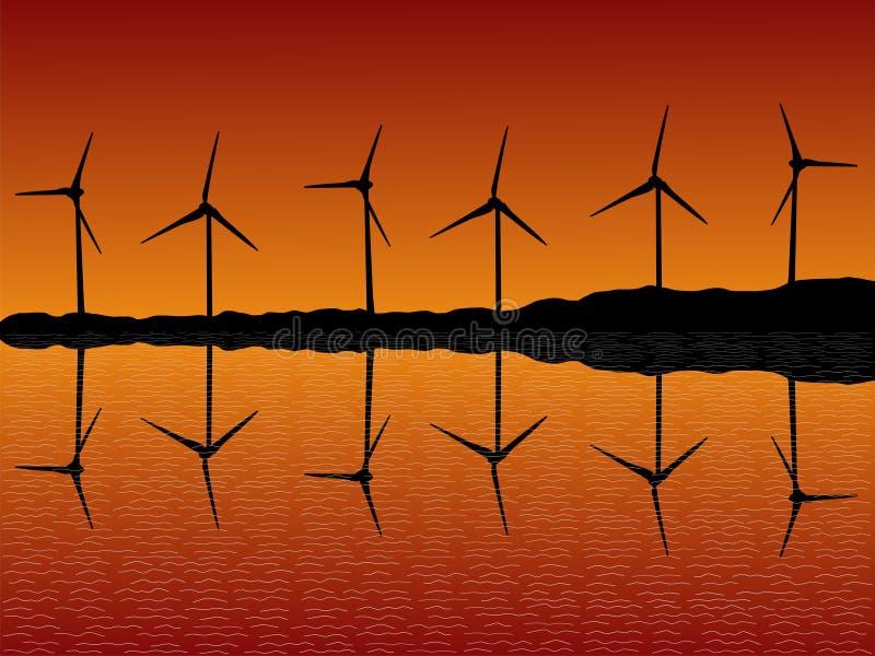 Exploração agrícola de vento no por do sol ilustração royalty free