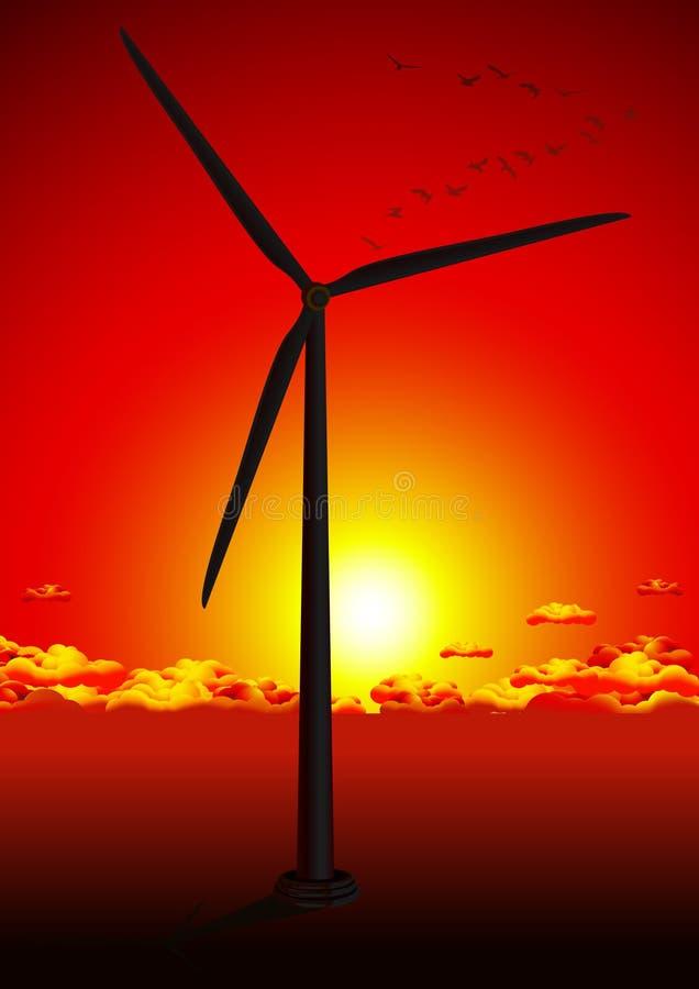 Exploração agrícola de vento no por do sol vermelho ilustração royalty free
