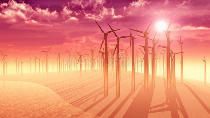 Exploração agrícola de vento - por do sol ilustração royalty free