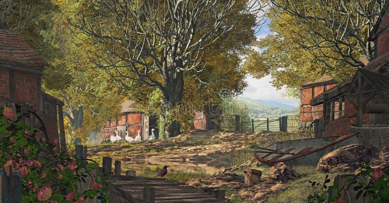 Exploração agrícola do país de Yorkshire ilustração do vetor