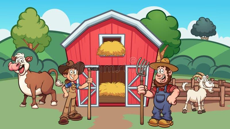 Exploração agrícola dos desenhos animados com fazendeiros, vaca e cabra ilustração stock