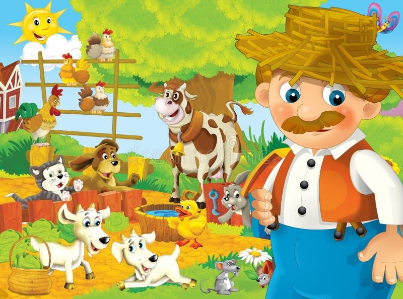 Exploração agrícola dos desenhos animados - ilustração para as crianças ilustração stock
