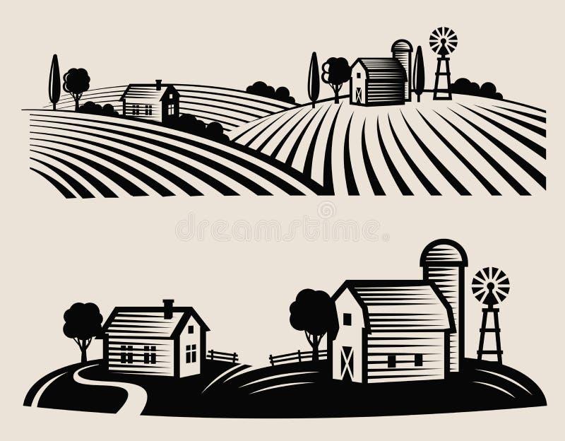 Exploração agrícola e campo ilustração do vetor
