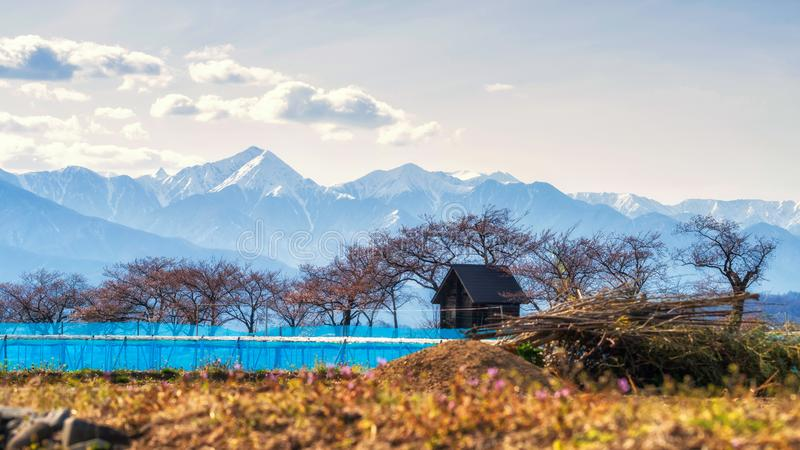 Exploração agrícola e casa de madeira com cumes, Matsumoto foto de stock