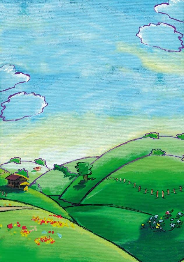 Exploração agrícola e montes ilustração stock