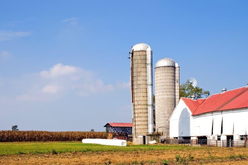 Exploração agrícola e silos autênticos de Amish fotos de stock royalty free