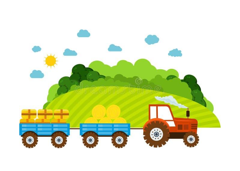 Exploração agrícola e terra, a vila com jardins, hortaliças, colheita, grão ilustração stock