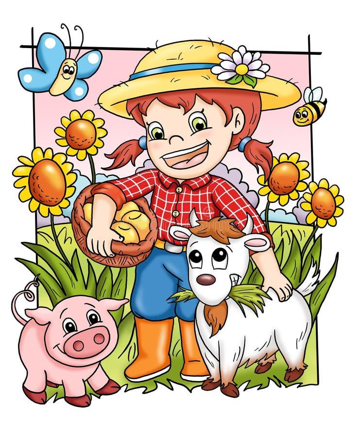 Exploração agrícola feliz ilustração do vetor